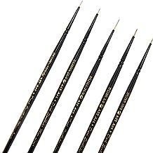 AIT Art Premium Detail Brush Set, 5 Dark Synthetic Paint Brushes, Handmade in USA, Best Quality Set for Precision Details ...