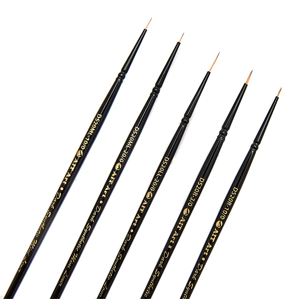AIT Art Premium Detail Brush Set, 5 Dark Synthetic Paint Brushes, Handmade in USA, Best Quality Set for Precision Details with Oil, Acrylic, and Watercolors