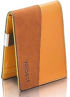 wilbest Portafoglio Uomo Slim Pelle Blocco RFID con Tasca Portamonete, Clip Fermasoldi, 8 Porta Carte di Credito(1 Finestr...