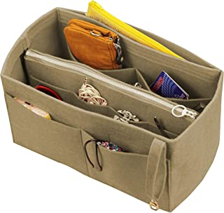 [Fits Neverfull GM/Speedy 40, Khaki] Felt Organizer (with Detachable Middle Zipper Bag), Bag in Bag, Wool Purse Insert, Customized Tote Organize, Cosmetic Makeup Diaper Handbag