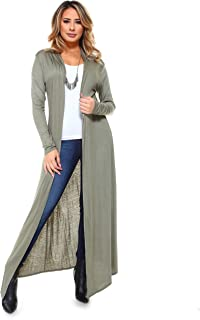 Isaac Liev Women`s Super Long Flowy Floor Length Maxi Cardigan Duster - Made in The USA