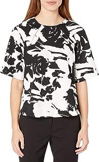 Joan Vass Women's Printed Stretch Pique Top