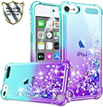 iPod Touch 7 Case, iPod Touch 6/Touch 5 Case with HD Screen Protector for Girls Women, Gritup Cute Clear Gradient Glitter Liquid TPU Slim Phone Case for Apple iPod Touch 7th/ 6th/ 5th Teal/Purple