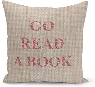 Read a Book Beige Linen Pillow with Electric Rose Gold Foil Print Reader Gift Sofa Pillow