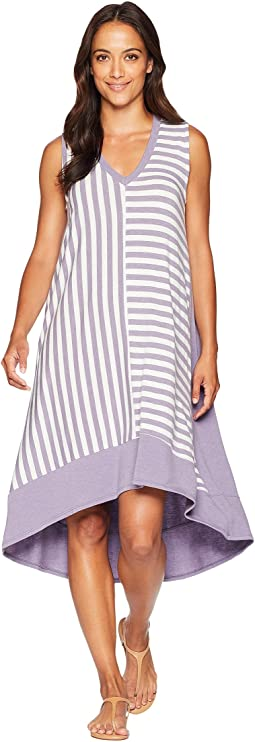 Sleeveless V-Neck Multi Stripe Dress