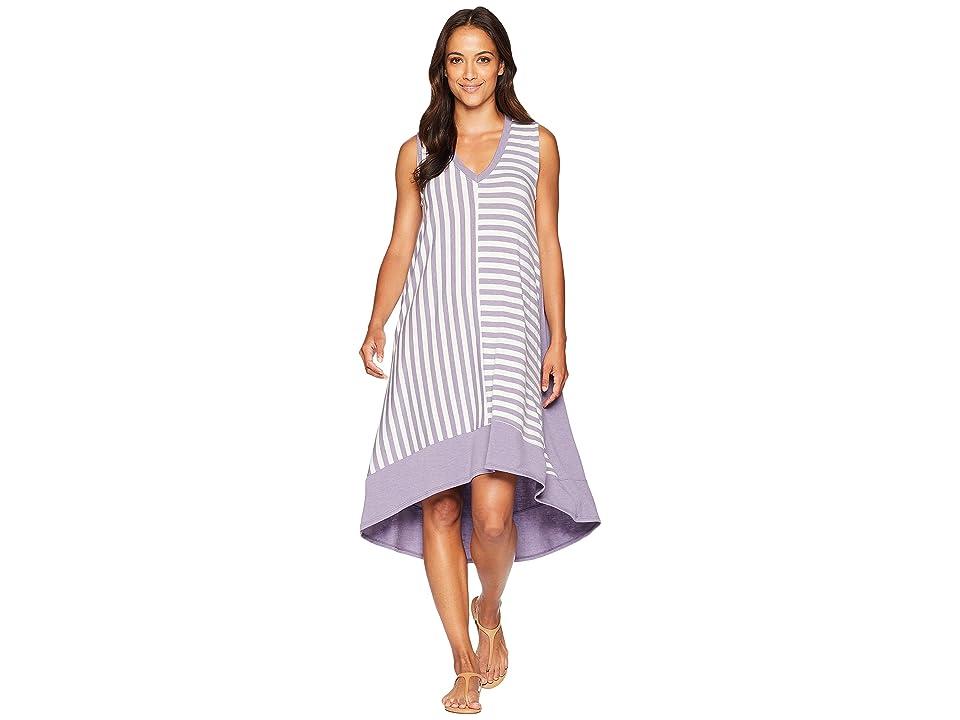 Nally & Millie Sleeveless V-Neck Multi Stripe Dress (Cloudy Plum) Women