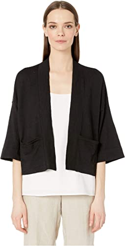 Organic Linen Crepe Stretch Boxy 3/4 Sleeve Short Cardigan