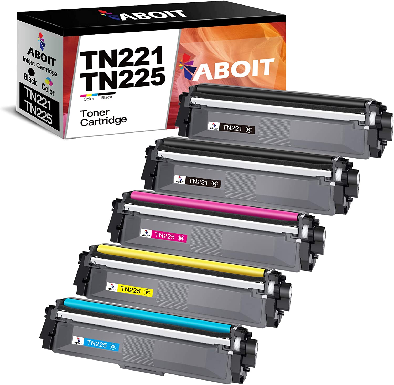 ABOIT Compatible TN221 Toner Cartridge Replacement for Brother TN221 TN225 TN-221 TN-225 for Brother HL-3140CW HL-3170CDW HL-3180 MFC-9130CW MFC-9330CDW MFC-9340CDW Printer Tray(5 Pack)