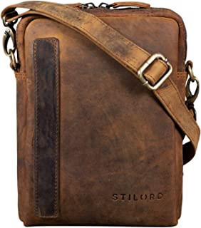 """STILORD John"""" Kleine Herrentasche Ledertasche Vintage 8,4 Zoll Tablettasche Umhängetasche Männer Schultertasche mit Reißverschluss Leder"""