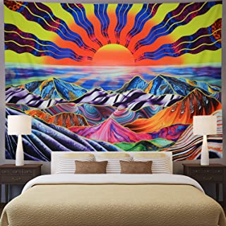 Hippie Sun Tapestry Trippy Mountain Tapestry Psychedelic Waves Tapestry Colorful Bohemian Sunrise Landscape Tapestry Wall Hanging for Bedroom (XL/70.8×92.5, Trippy Sun Rays)
