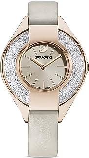 Swarovski Women's Crystalline Sporty Swiss Quartz Watch with Leather Strap, Gray, 12 (Model: 5547976)