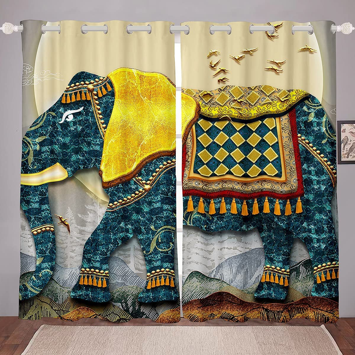 2021 model Dedication Castle Fairy Elephant Window Drapes Gorgeous Print Room Animal D