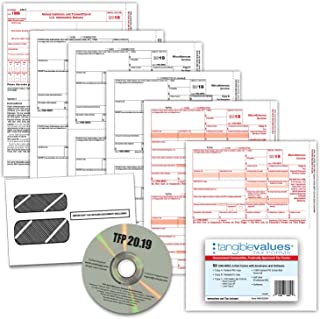 Tangible Values 1099 Misc Laser Forms (4-Part) Kit with Envelopes Plus TFP Software for 50 Individuals/Suppliers (2019)