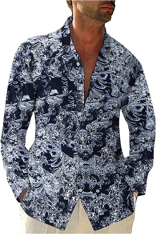 XXBR Hawaiian Shirts for Mens, Fall Button-Down Boho Leaves Print Long Sleeve Holiday Beach Loose Lapel Casual Shirt