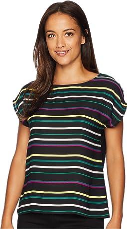 Petite Extended Shoulder Paradise Multi Stripe Blouse