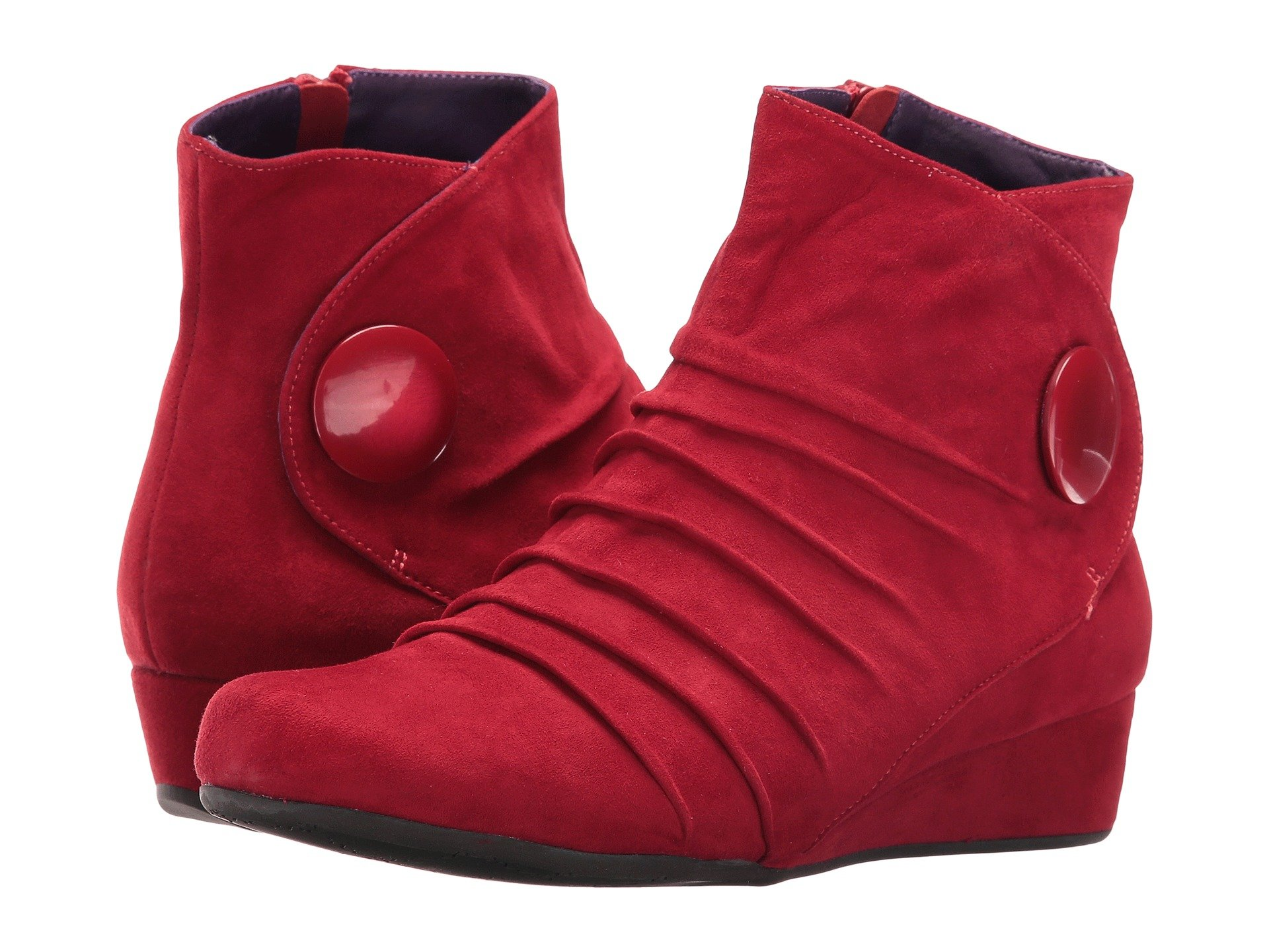 Vaneli Women's Mandly Red Suede/Match Mop Button Boot 7.5 W (C)