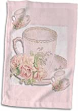 3D Rose Image of Delicate English Pink Tea Pattern Hand Towel, 15 x 22, Multicolor