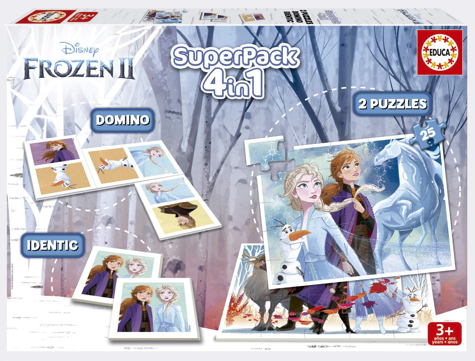 Educa Borrás- Frozen 2 Pack Contiene 2 Puzzles, 1 Juego de Memoria y 1 Domino, a Partir de 3 años, Color variado (18378) , color/modelo surtido: Amazon.es: Juguetes y juegos