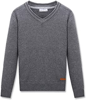 CUNYI Boys V-Neck Pullover Cotton Knit Sweater