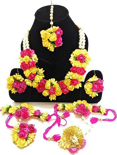 Flower Jewellery Set For Haldi Baby Shower Mehndi Godbharai Yellow And Pink Gota Patti Set For Women And Girls