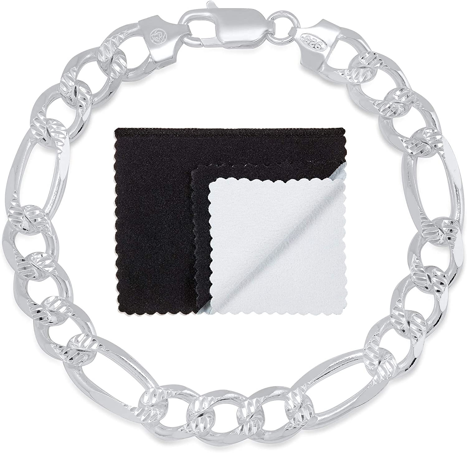 9.5mm .925 Sterling Silver NEW before selling ☆ Diamond-Cut Flat Chain Max 77% OFF Bracele Figaro