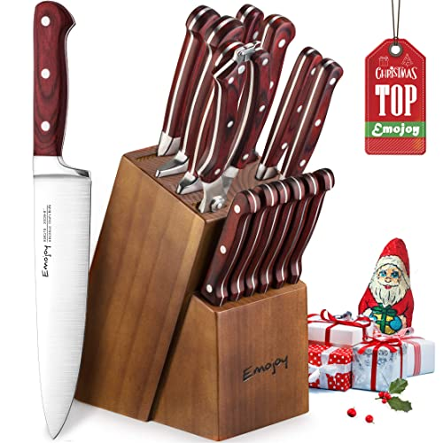 Emojoy Bloc de Couteaux, Set de Couteaux de Cuisine 15 Pièces, Ensemble de Couteaux Professionnels en Acier Inoxydable avec Support en Bois