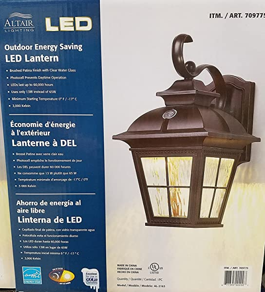 Altair SG B072BVJFK2 US Al 2163 Energy Saving LED Lantern Brushed Patina Finsh With Clear Water Glass Bronze