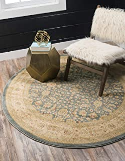Unique Loom Edinburgh Collection Oriental Traditional French Country Blue Round Rug (6' 0 x 6' 0)