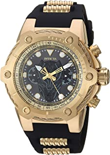 Men's Marvel Stainless Steel Quartz Watch with Silicone Strap, Black, 30 (Model: 26921)
