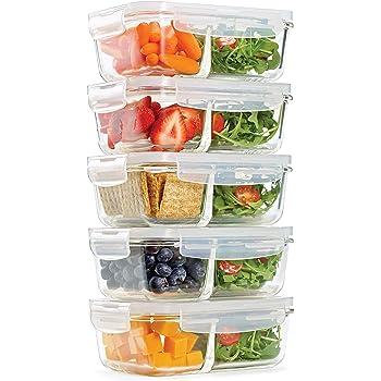 Fit & Fresh Recipientes de vidrio dividido, paquete de 5, dos compartimentos, juego de 5 recipientes con tapa de bloqueo, almacenamiento de vidrio, contenedores de preparación de comidas con sello hermético, 300 oz.