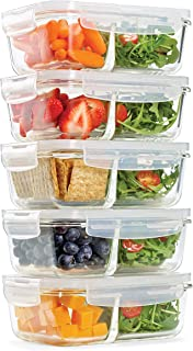 Fit & Fresh Divided Glass Containers, 5-Pack, Two Compartments, Set of 5 Containers with Locking Lids, Glass Storage, Meal...