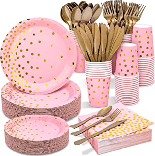 Best Pink and Gold Party Supplies 350PCS Disposable Dinnerware Set - Pink Paper Plates Napkins Cups, Gold Plastic Forks Knives Spoons for Birthday Bridal Baby Shower Valentine