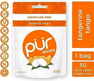 PUR 100% Xylitol Breath Mints, Tangerine Tango, 50 Count - Sugar-Free + Aspartame Free, Vegan + non GMO