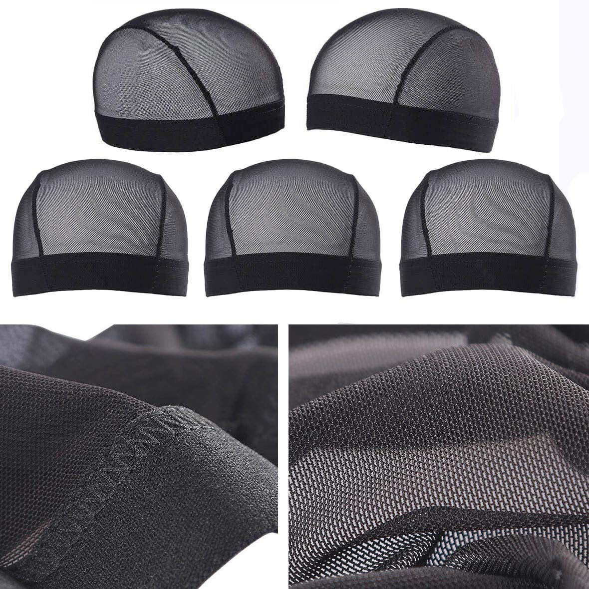 Beauty products 5 Pack mart Black Dome Cornrow Wig Blac Breathable Caps Nylon Elastic