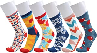 WEILAI Men's Fun Dress Socks - Colorful Funny Novelty Cool Crazy Casual Crew Socks Pack