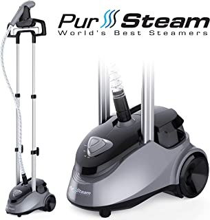 PurSteam Full Size Garment Fabric Steamer Professional Heavy Duty Industry Leading 2.5 Liter (85 fl.oz.) Water Tank Producing Over 60min of Continuous Steam with 4 Level Steam Adjustment