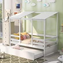 Kids House Bed with Trundle /Twin Size Wood Bed Frame/ White