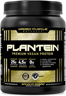 Vegan Protein Powder; Kaged Muscle Plantein, Delicious Organic Pea Protein Powder with Enhanced Absorption (15 Servings, B...