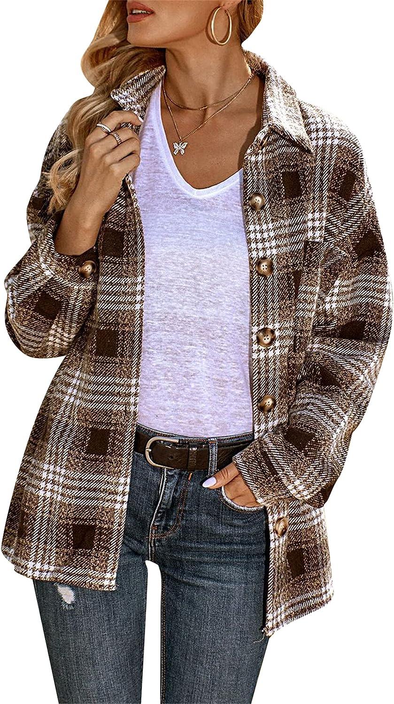 EFOFEI Womens Oversized Buttons Flannel Tartan Shirt Buttons Pocket Turn-Down Collar Blouse Long Sleeve Tee Shirt