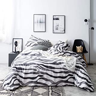 SUSYBAO 3 Piece Duvet Cover Set 100% Natural Cotton Queen Size Zebra Print Bedding Set with Zipper Ties 1 Black and White Animal Print Duvet Cover 2 Pillowcases Luxury Quality Soft Modern Lightweight