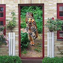 ZEISIX Etiqueta de la Puerta 3D Etiqueta de la Pared Mural de la Pared 90x210cm Tigre Animal de Hierba Verde Pegatinas Aut...