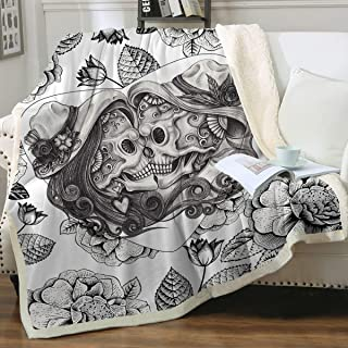 Sleepwish Skull Blankets Black and White Vintage Skull Throw Blankets Skull Sherpa Blanket for Adults Fashion Fleece Blanket for Couch Sofa Bed Christian Gifts (Throw 50