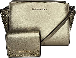 MICHAEL Michael Kors Selma Stud MD Messenger Crossbody bundled with Michael Kors Flap Card Holder Wallet