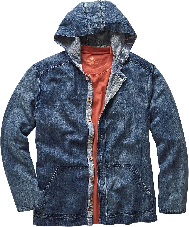 Territory Ahead Mens Cotton Linen Denim Hoodie Jacket