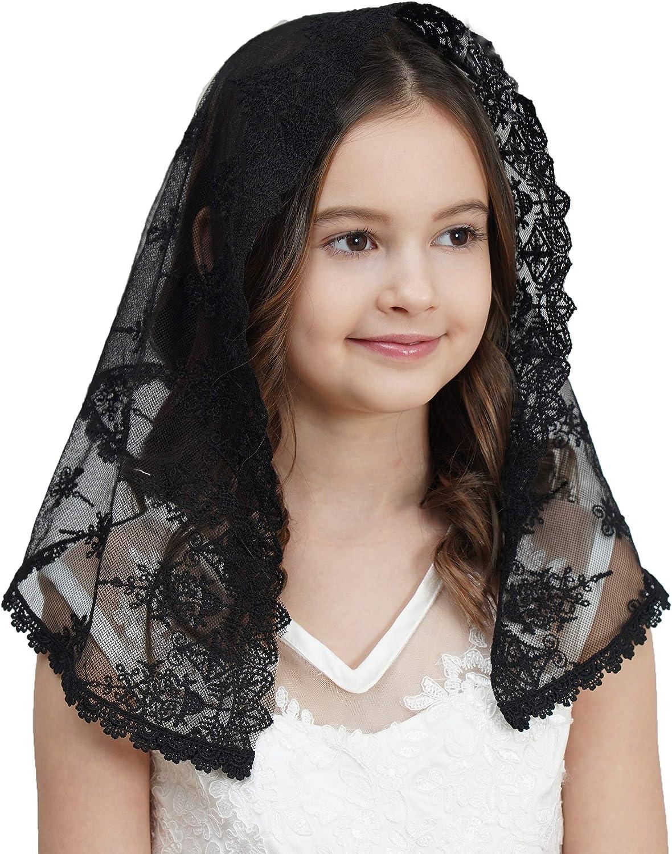 Ana Customized Black First Communion Veil Flower Girls Veils for Church Mantilla Veil Catholic