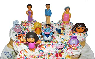 Nickelodeon Dora The Explorer Deluxe Set of 10 Cake Toppers Cupcake Toppers Party Decorations with Dora, Boots, Tico, Mom, Grandma, Backpack, Swiper and More!