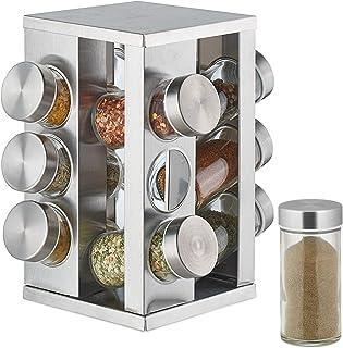 Relaxdays Tourniquet à épices, avec 12 Pots, étagère rotative à 360°, INOX, Verre, manège, H x D 22 x 19 cm, Argent
