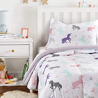 Amazon Basics Easy-Wash Microfiber Kid's Comforter and Pillow Sham Set – Twin,..