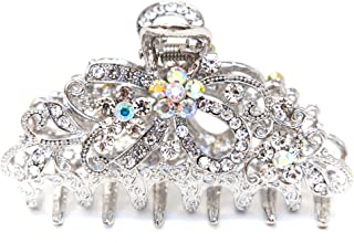 NEW Fancy Blue Austrian Crystal Hair Claw Clip Clamp Wedding Ribbon Bow Metal 4 color (silver)