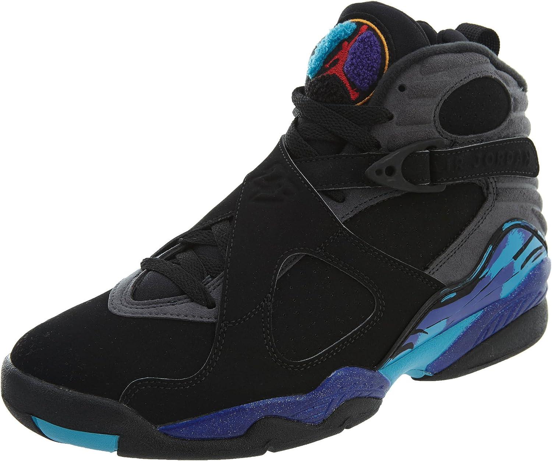 Nike Air Jordan 8 Retro, Chaussures de Sport Homme, Noir/Rouge ...